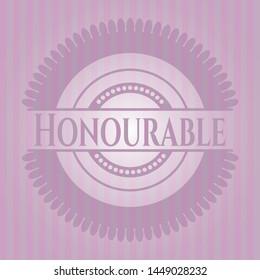 Honourable retro style pink emblem. Vector Illustration. Detailed.