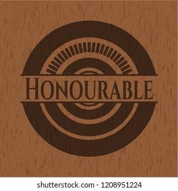 Honourable retro style wood emblem