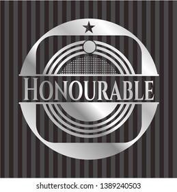 Honourable silvery emblem or badge. Vector Illustration. Mosaic.