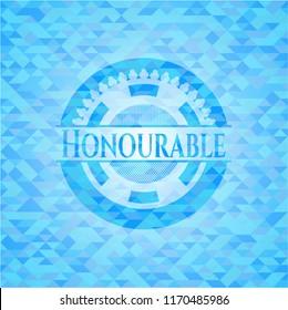 Honourable sky blue emblem. Mosaic background