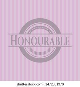 Honourable vintage pink emblem. Vector Illustration. Detailed.
