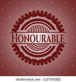 Honourable vintage red emblem