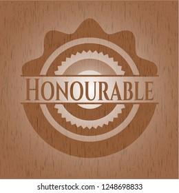 Honourable vintage wood emblem