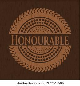 Honourable wooden emblem. Retro