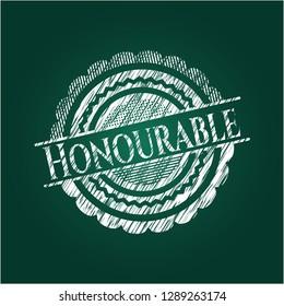 Honourable written on a blackboard