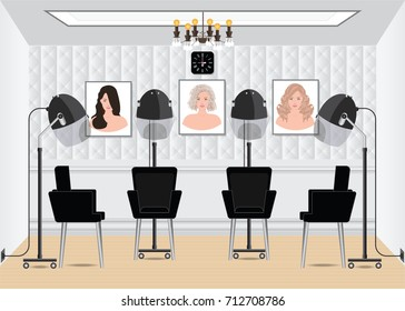 Hood hair dryer in beauty salon with poster hair style in salon interior, hairdressing machine vector illustration.