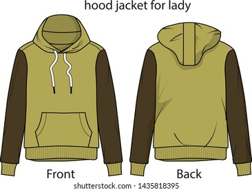 hood jacket for lady vecotr template