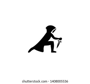 Hooded assassin vector isolated illustration. Hooded assassin icon