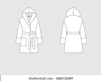 hooded bathrobe, front and back, drawing flat sketches with vector illustration by sweettears