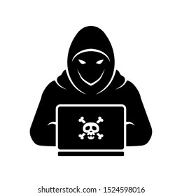 Hooded Hacker or Anonymous with Laptop Logo or Icon Vector