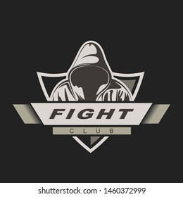 Hooded man. Mix fight logo template. Fight club label. Assassin gaming mascot.