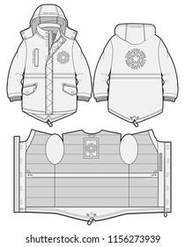 Hooded sport parka with zip closure and pockets
