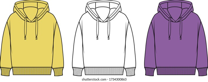 hooded sweatshirt. Hoodie sweatshirt long sleeve with clipping path, hoody for design mockup for print, isolated on white background.