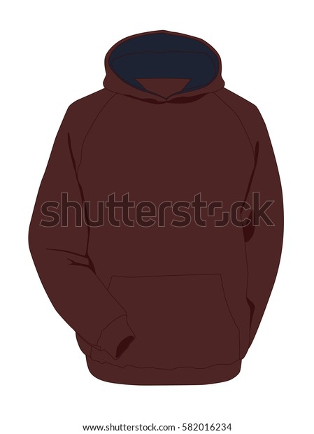 Hoodie brown realistic vector illustration isolated