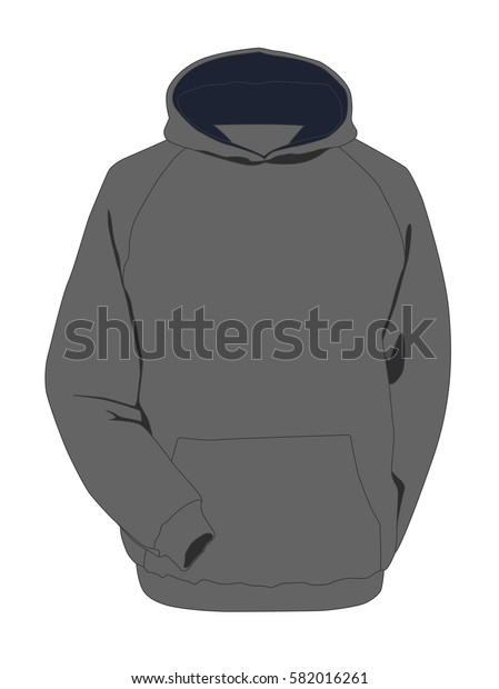 Hoodie grey realistic vector illustration isolated