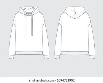 hoodie or hooded sweater, front and back, drawing flat sketches with vector illustration by sweettears