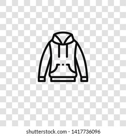 hoodie icon from clothes collection for mobile concept and web apps icon. Transparent outline, thin line hoodie icon for website design and mobile, app development