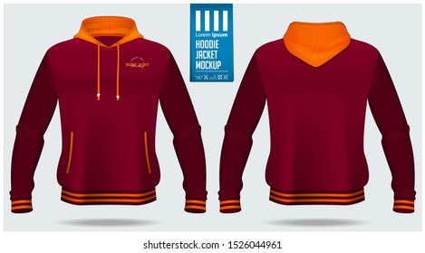 Hoodie jacket mockup template design for soccer, football, baseball, basketball, sports team or university. Front view and back view for jacket uniform. Vector Illustration.