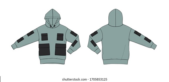 Hoodie with patch pockets design, flat sketch, front and back views