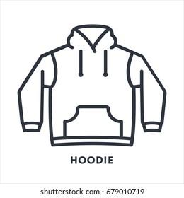 Hoodie Sweatshirt Clothing Minimal Flat Line Outline Stroke Icon Pictogram