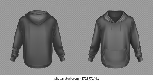 Hoody, black sweatshirt mock up front and back view set. Isolated hoodie with long sleeves, kangaroo muff pocket and drawstrings. Sport, casual or urban clothing fashion, Realistic 3d vector mockup