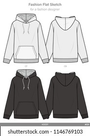 HOODY FASHION FLAT SKETCHES technical drawings teck pack Illustrator vector template