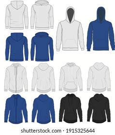 Hoody fashion, sweatshirt template. Front and back view. Vector