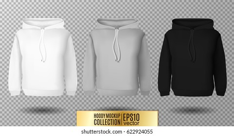 Hoody set. Realistic mockup. Long sleeve hoody template on transparent background. White, black and gray version