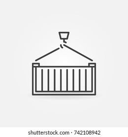 Hook with cargo container vector outline sign or design element