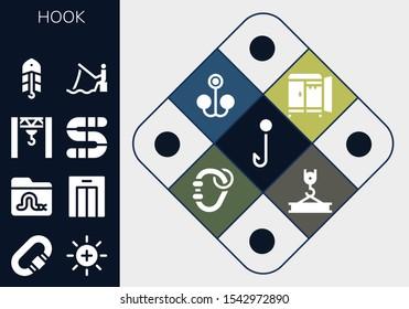 hook icon set. 13 filled hook icons.  Collection Of - Hook, Carabiner, Balance, Worm, Lift, Crane, Bait, Fishing, Wardrobe icons