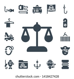 hook icon set. 17 filled hook icons.  Collection Of - Fishing, Hanger, Crane, Balance, Carabiner, Pirate, Extending leads, Worm, Hook, Fishing reel, Fishing line