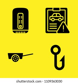 hook, mac pro, car repair and cart vector icon set. Sample icons set for web and graphic design