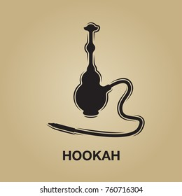Hookah bar lounge. Elegant icon, smoke symbol, vector shisha logo. For the menu, cafe, restaurant, minimal. Poster and flyer design.