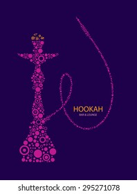 Hookah Bar Menu Cover, Nargila Arabic Smoke, Hubble bubble tube, Restaurant, Cafe, Lounge (Vector Art)