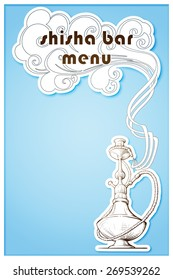 Hookah Bar menu. Linear drawing isolated on a white plate imitating cardboard cutout. EPS10 vector illustration.