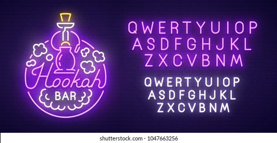 Hookah bar neon sign, bright signboard, light banner. Hookah logo, emblem and label. Neon text edit