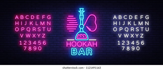 Hookah Bar neon sign vector. Night Hookah Design Template, Light Banner, Night Bright Advertising, Bright Signboard, Design Element Hookah Emblem, Nightlife. Vector. Editing text neon sign