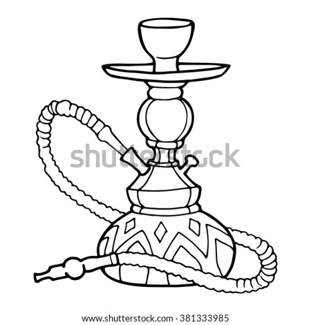 Hookah Decorative Contour Drawing On White Stock Vector Royalty