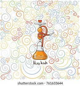 Hookah doodle illustration on patterned background. Vector image