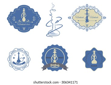 hookah emblems set isolated vector illustration.