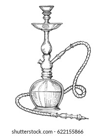 Hookah engraving vector illustration. Scratch board style imitation. Hand drawn image.