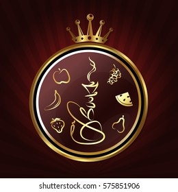 Hookah with fruit symbol design, circle and crown