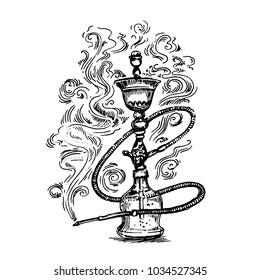 Hookah hand drawn sketch illustration
