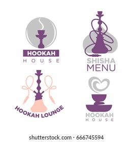 Hookah house logotypes colorful set isolated on white