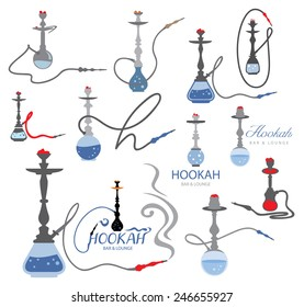 Hookah Icon Collection, Nargile, Nargila, Hubbly bubbly, Shisha Arabic Style (vector Art)