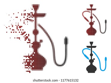 Hookah icon in dispersed, pixelated halftone and undamaged whole variants. Particles are grouped into vector disappearing hookah shape.