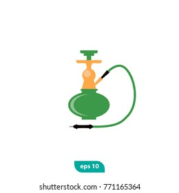 Hookah icon. Nargile symbol. Instrument for vaporizing and smoking flavored tobacco called shisha. Flat vector sign isolated on white background. Used for lounge cafe emblem, arabian bar or shop.