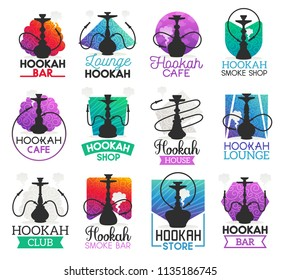 Hookah icons and symbols isolated. Lounge bar and smoke shop icons, hookah club and house emblems vector. Instrument for vaporizing and smoking flavored tobacco, alternative shisha smoking