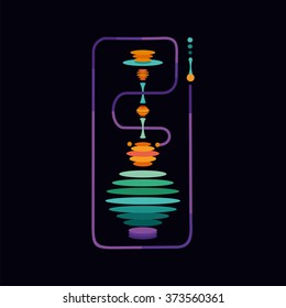 Hookah. Isolated vector sign with a vibration color. Flat style illustration . Symbol for hookah and lounge bars. Traditional arabic culture.