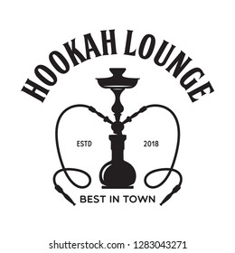 Hookah label, badge and design elements. Hookah club. Shisha bar. Hookah lounge logo. Hookah pipes. Vector vintage illustration.
